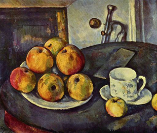 Paul Cezanne Still Life with Bottle and Apple Basket, 1890-94 Oil on Canvas Private Collection